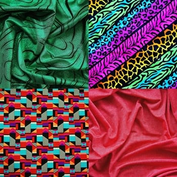 Discount fabric online by the yard. Buy clearance fabric online. Discount Stretch spandex fabric sold online by the yard. Many styles and colors, all available at no minimum order. Printed spandex fabric sold by the yard or roll. Perfect for dance, swim, cheer, bows, gymnastics, figure skating, costume, cosplay, apparel and more. Fabric sold by the yard or roll at no minimum.