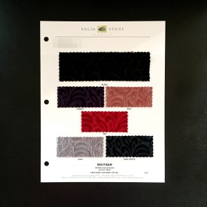"Burnout Velvet Fabric Swatches / Color card features full size ""feeler"" fabric swatches and all available fabric colors on one card for your convenience. Designed to fit inside a three ring binder for easy reference!"