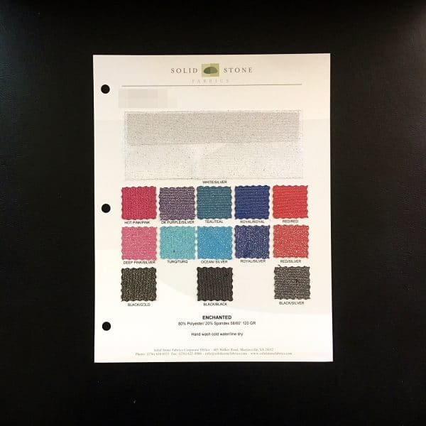 "Glitter Mesh Fabric Swatches / Color card features full size ""feeler"" fabric swatches and all available fabric colors on one card for your convenience. Designed to fit inside a three ring binder for easy reference!"