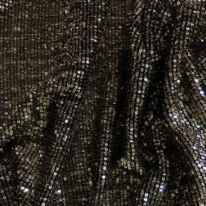 Gold Black Pleated Sequin Fabric