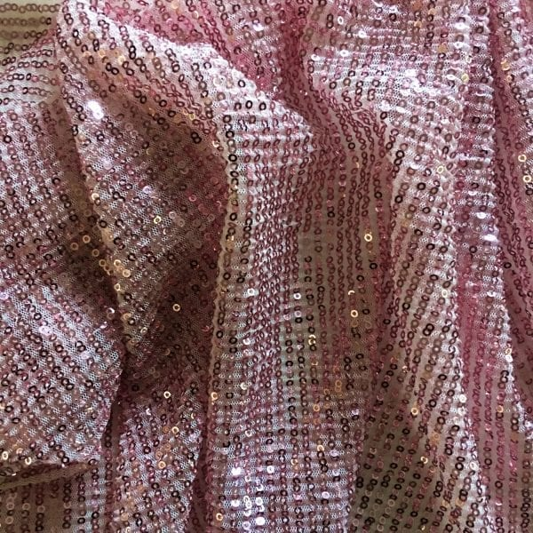 Pink Pleated Sequin Fabric
