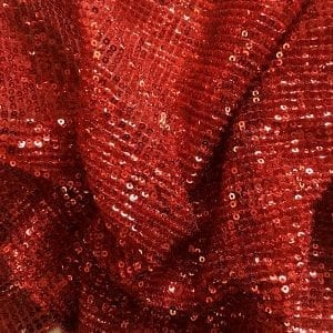 Red Pleated Sequin Fabric