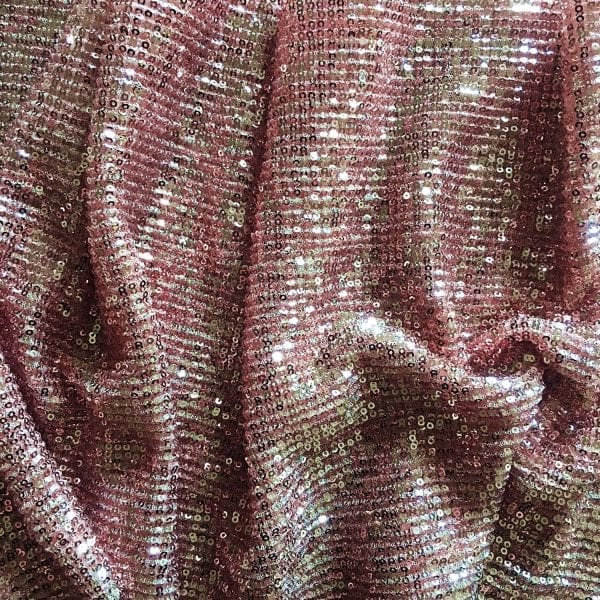 Rose Gold Pleated Sequin Fabric