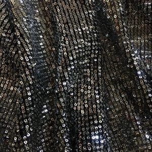 Silver Black Pleated Sequin Fabric