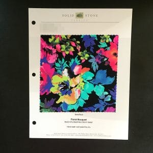 "Floral Stretch Fabric Swatches / Color card features full size ""feeler"" fabric swatches and all available fabric colors on one card for your convenience. Designed to fit inside a three ring binder for easy reference!"