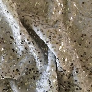 Silver White Sequin Velvet Fabric