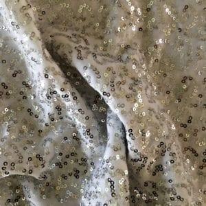 Silver White Sequin Velvet Fabric
