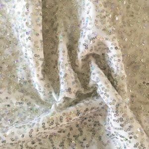 Silver Holographic Sequin Velvet Fabric