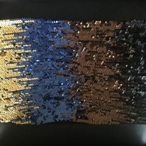 Matte Broad Stripe Sequin Fabric in Copper, Blue, Black and Gold