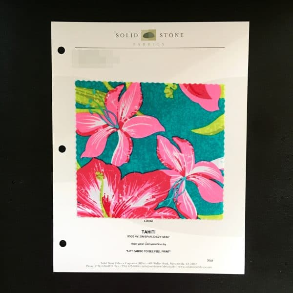"""Tropical Print Fabric Swatches / Color card features full size """"feeler"""" fabric swatches and all available fabric colors on one card for your convenience. Designed to fit inside a three ring binder for easy reference!"""