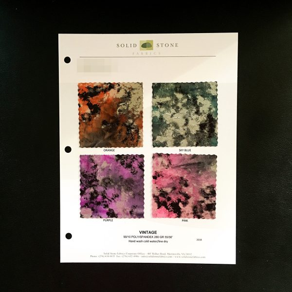"Distressed Foil Fabric Swatches / Color Card features full size ""feeler"" fabric swatches and all available fabric colors on one card for your convenience. Designed to fit inside a three ring binder for easy reference!"