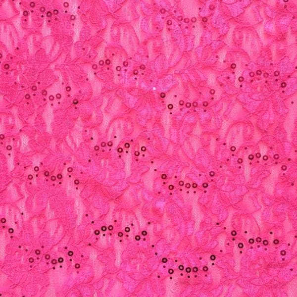 Hot Pink Lace Fabric with Sequins
