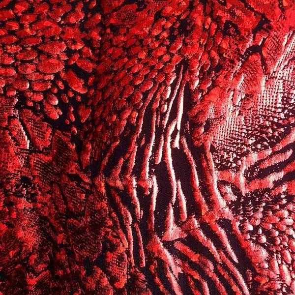 Red Animal Print Hologram Fabric