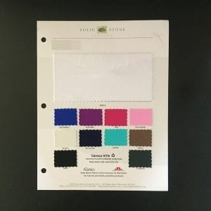 "Full size ""feeler"" swatch and all available stock colors on one card for your convenience."
