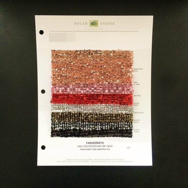 "Fashionista Pleated Sequin Fabric Swatches / Color card features full size ""feeler"" fabric swatches and all available fabric colors on one card for your convenience."