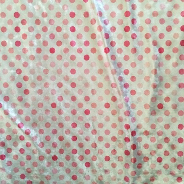 Pink Polka Dot Fabric Print on Crushed Velvet