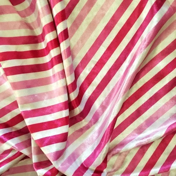 Pink Stripe Fabric Print on Crushed Velvet
