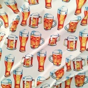 Fun Beer Mug Fabric print on Carvico VITA recycled yarn print base.