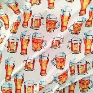 Fun Beer Mug Fabric print on Carvico VITA recycled yarn print base.