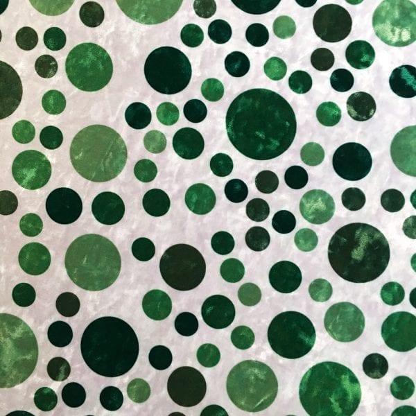 Green Polka Dot Fabric Print on Crushed Velvet