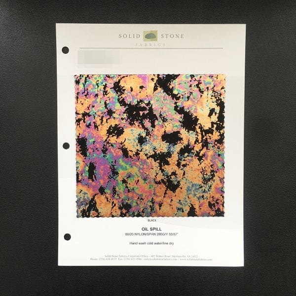 Oil Spill Fabric Swatches / Color Card - SOLID STONE FABRICS, INC.