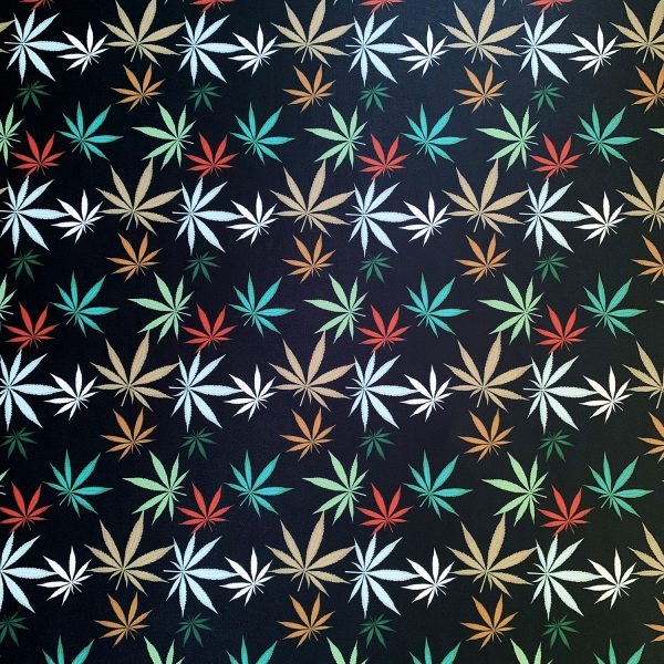 Fun Multicolored Marijuana Fabric Print on Carvico VITA PL recycled polyester print base.