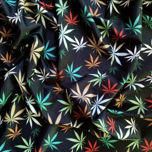 Multicolored Marijuana Fabric Print on Carvico VITA PL recycled polyester print base. - CBD Themed Fabrics by the yard - Solid Stone Fabrics, Inc.