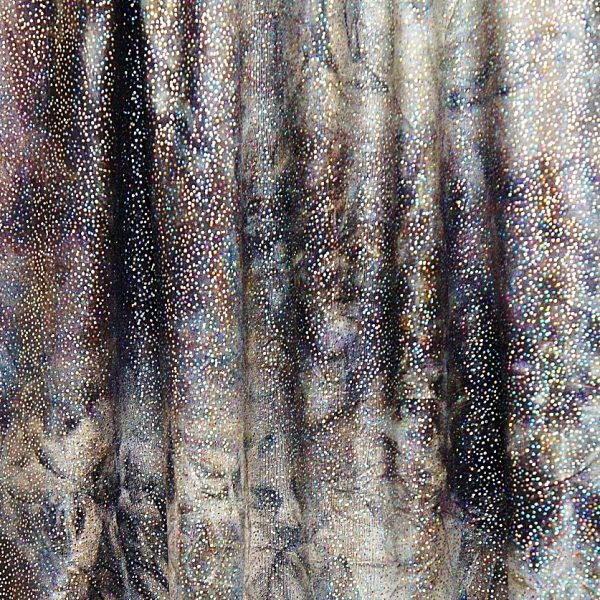 Charcoal Grey Glitter Tie Dye 4 way stretch fabric topped with silver foil glitter for brilliant sparkle and shine.