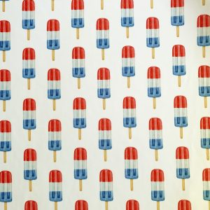 Fun Red White Blue Popsicle print on Carvico VITA PL recycled polyester print base.