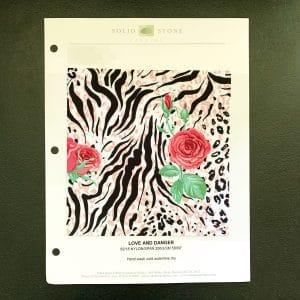 """Floral Animal Print Swatches / Color card features full size """"feeler"""" fabric swatches and all available fabric colors on one card for your convenience. Designed to fit inside a three ring binder for easy reference!"""