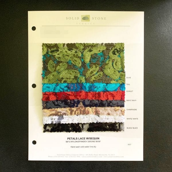 """Floral Sequin Fabric Swatches / Color card features full size """"feeler"""" fabric swatches and all available fabric colors on one card for your convenience. Designed to fit inside a three ring binder for easy reference!"""