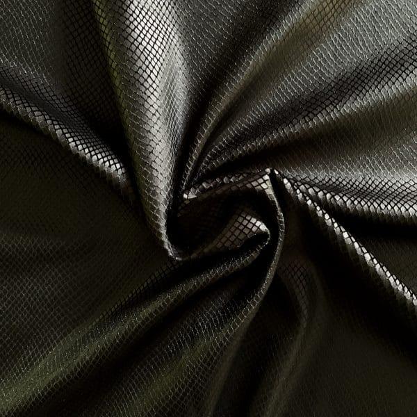 Matte Black Snakeskin Velvet Fabric