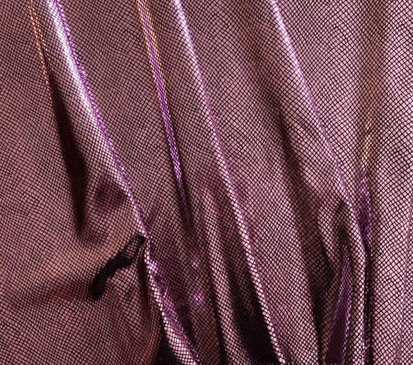Python - Pink/Black pink snakeskin velvet fabric features plush black 4-way stretch velvet topped with shiny pink snakeskin foil for an ultra-sleek, modern look.