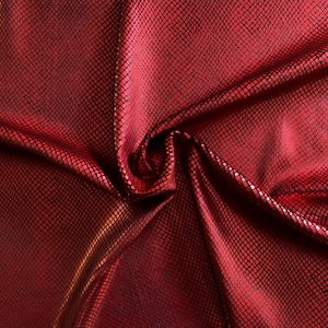 Red Snakeskin Stretch Velvet Fabric