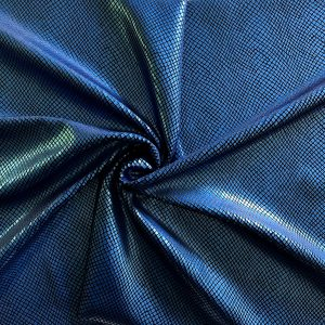 Blue Snakeskin Stretch Velvet Fabric
