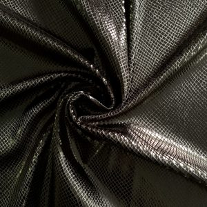 Black Snakeskin Velvet Fabric