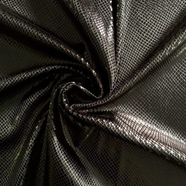 Black Snakeskin Velvet Fabric
