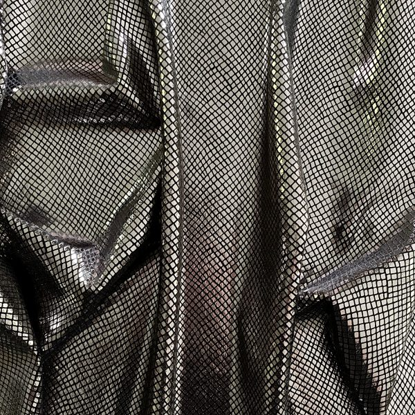 Python - Titanium/Black titanium grey snakeskin foil velvet fabric features plush black 4-way stretch velvet topped with shiny titanium grey snakeskin foil for an ultra-sleek, modern look.