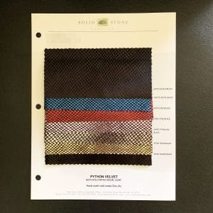 Snakeskin velvet fabric swatches