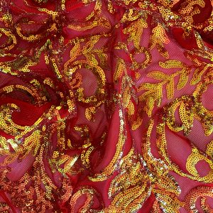 Iridescent Sequin Mesh Fabric - ORANGE RED IRIDESCENT SEQUIN MESH FABRIC - DETAIL - SOLID STONE FABRICS, INC. - EXPERTS IN TEXTILES AND CUSTOM FABRIC PRINTING SINCE 2003