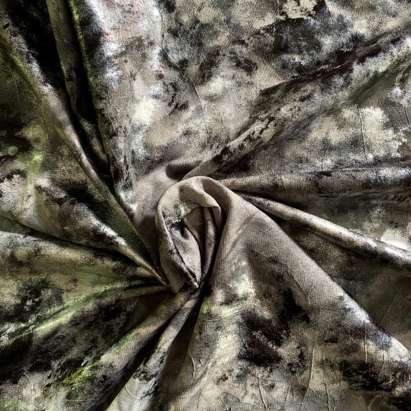 Grey Distressed Foil fabric features multiple distressed foils in shades of grey, black and silver with a subtle wrinkle effect, for lots of textural interest.