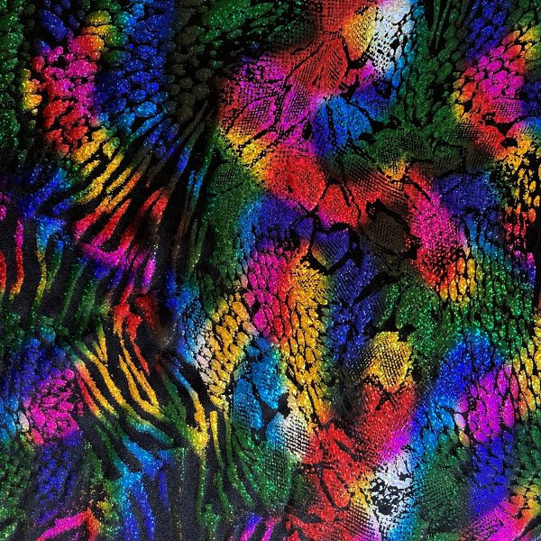 Rainbow animal print hologram fabric featuring black stretch base fabric topped with rainbow hologram shattered glass holographic foil in multiple animal prints for brilliant shine and sparkle.