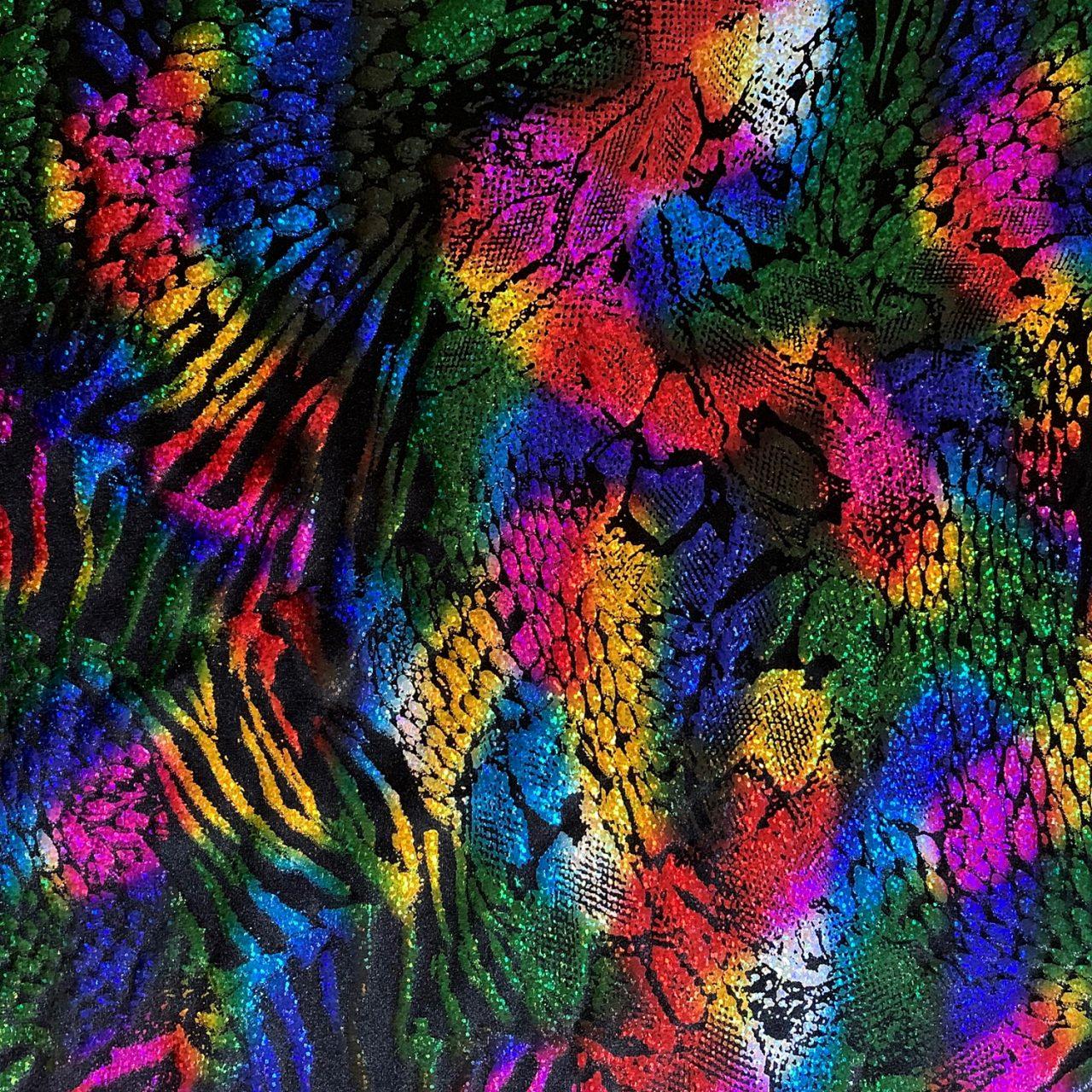 150*100cm Metallic Shiny Stretch Fabric Rainbow Holographic Crafts Creative Made