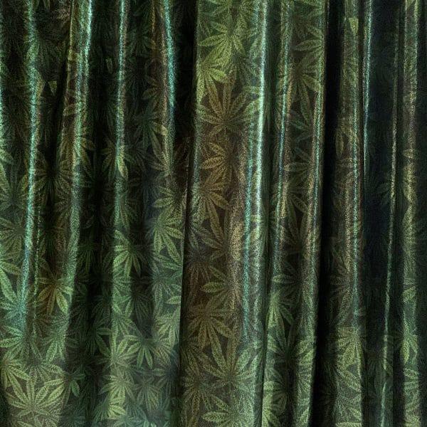 Marijuana Leaf Print Fabric by the yard or roll. Solid Stone Fabrics, Inc.