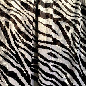Zebra Print Crushed Velvet Fabric