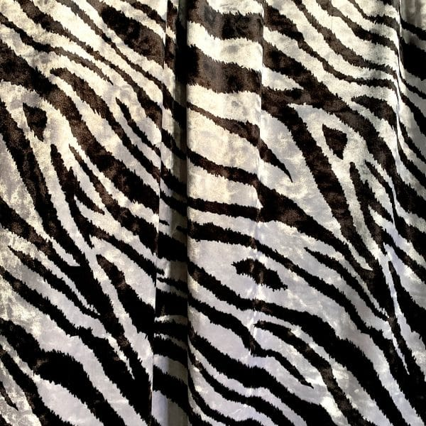Zebra Print Crushed Velvet Fabric
