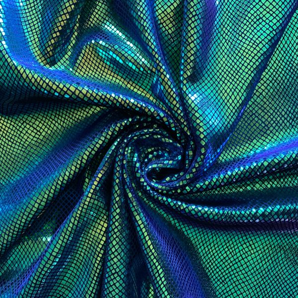 wholesale iridescent snakeskin velvet fabric indigo blue velvet with iridescent foil