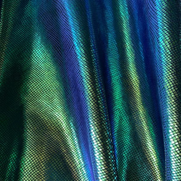 iridesecnt snakeskin velvet fabric featuring indigo blue velvet fabric with iridescent metallic foil