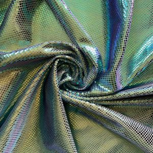 Green Metallic Snakeskin Velvet Fabric