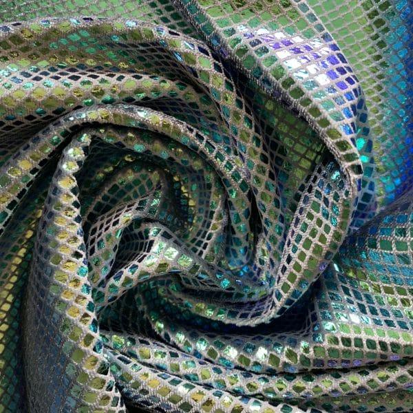 Green Metallic Snakeskin Velvet Fabric